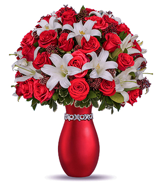 Xoxo Bouquet With Red Roses Broadwaybakery Com 36385