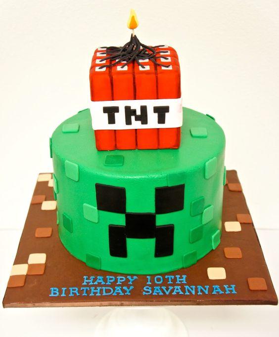 Minecraft Creeper Tnt Birthday Cake Broadwaybakery 39476