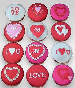 Pink Romance Valentine Dozen (12) Cupcakes