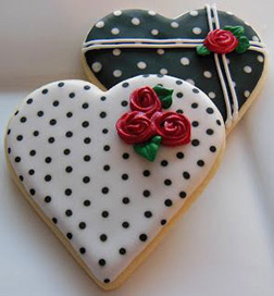 Black and White Polka Dot Heart Cookies