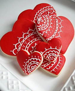 White Lace Valentine's Day Cookies