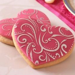 Floral Heart Valentine's Day Cookies