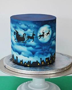 Midnight Blue Christmas Cake