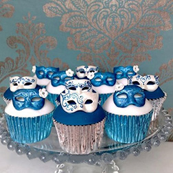 Turquoise Masquerade Dozen Cupcakes