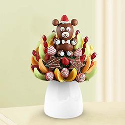 Christmas Teddy Fruit Bouquet