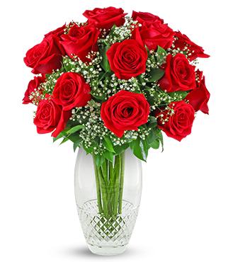 Cashs Crystal Cooper 10 Inch Vase - Premium Red Roses
