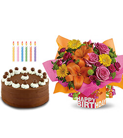 Rosy Birthday Bouquet, Signature Chocolate Cake, Candles