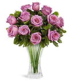 Nachtmann Saphir Vase 60 Purple Roses Bouquet - VASE INCLUDED