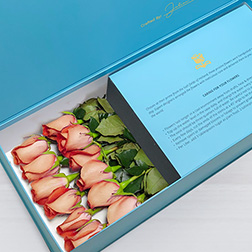 Blushing Love - Long Stem Peach Roses in Blue Box