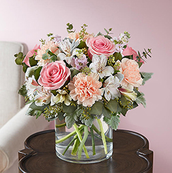 Tender Hearts - Long Stem White Roses in Pink Box
