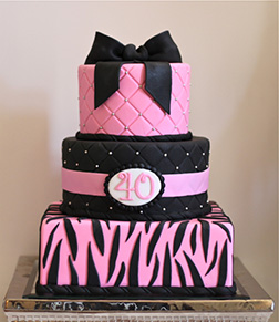 Pink and Black Tier Print Cake
