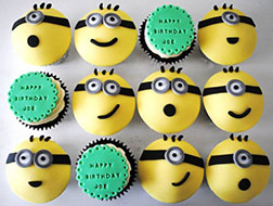 Amusing Minion Cupcakes -  One Dozen