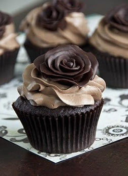 Dark Rose Dozen Cupcakes