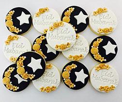 Flowery Crescents Eid Cookies