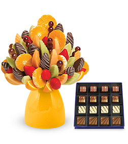 Evening Delight Fruit Bouquet with Guilty Pleasures Chocolate Box
