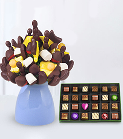 Dipped Magnificence Fruit Bouquet with Red-Letter Day Chocolate Box