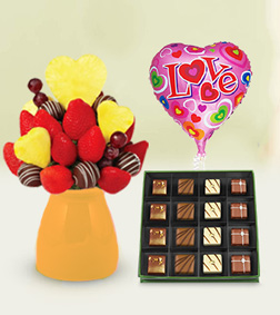 Sweetheart Decadence Fruit Bouquet with Parisian's Delight Chocolate Box & Love Balloon