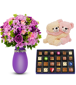 Isn't She Lovely Bouquet with Sinfully Delicious Chocolate Box & Snuggles Couple Bear