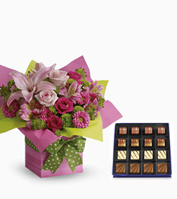 Pretty Pink Present Bouquet with Guilty Pleasures Chocolate Box