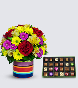 Cheerful Birthday Bouquet with Red-Letter Day Chocolate Box