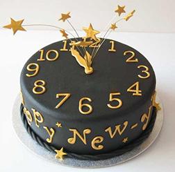 New Year's Starburst Clock Cake