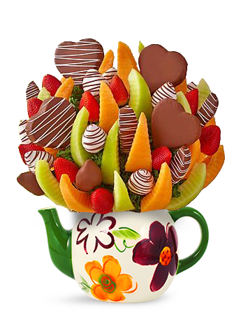 Chocolate Heart Drizzle Fruit Bouquet