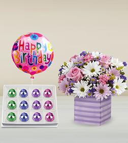 Purple Poetry Bouquet, Royal Offering Gemstone Chocolates & Birthday Balloon
