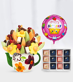 Lucky Teapot Fruit Bouquet, Gourmet Gratitude Chocolates & Birthday Balloon
