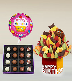 Birthday Fruit Bouquet, Imperial Truffles Box & Birthday Balloon