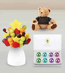 Assorted Indulgence Fruit Bouquet, Trinkets Gemstones Chocolate Box & Teddy Bear