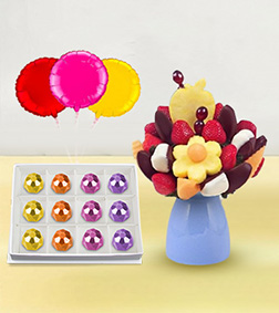 Splendid Surprise Fruit Bouquet, Ornate Gemstones Chocolate Box & Balloon Bouquet