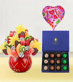 Hearts & Kisses Fruit Bouquet, The Signature Truffles Box & Love Balloon