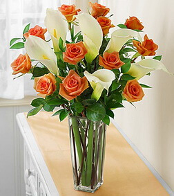Orange Rose & Calla Lily