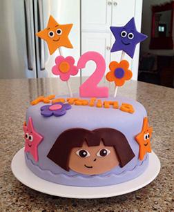 Dora the Explorer Purple Round Cake