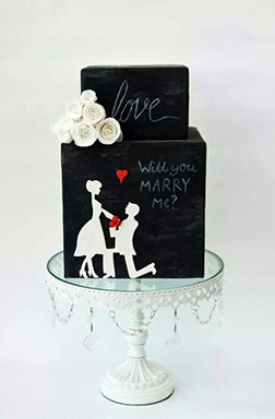 Will You Be Mine Silhouette Cake