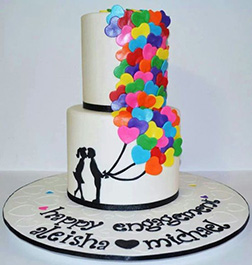 Sweetheart's Balloons Tiered Cake