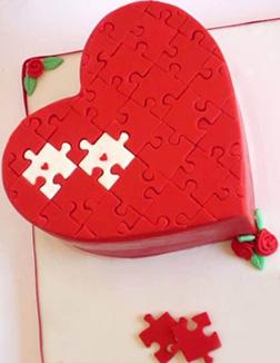 Jigsaw Heart Cake