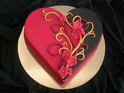 Abstract Red and Black Heart Cake