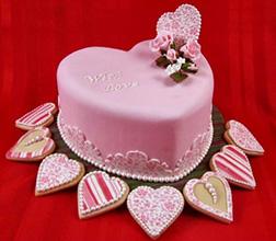 Pink Cookies Valentine Cake
