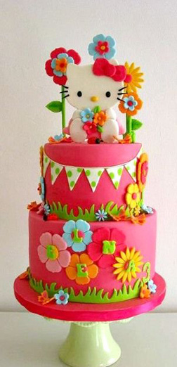 Tiered Floral Hello Kitty Cake