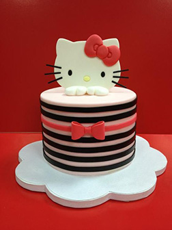 Bow Striped Hello Kitty Cake