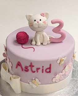 Pink Yarn ball Cat Cake