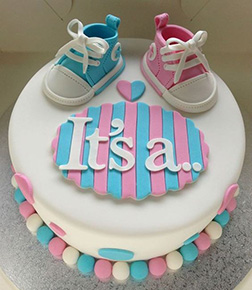 Baby Shoes Gender Reveal Cake