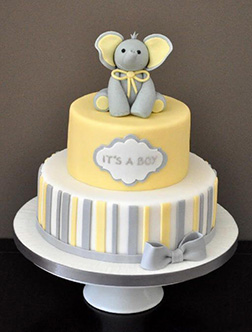 Two Tiered Baby Boy Elephant Cake