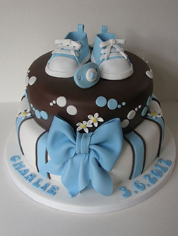 Baby Blue Shoes & Bow Cake