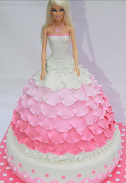 Barbie Flowing Floral Dress Cake