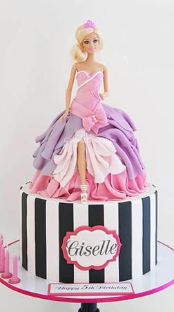 Barbie Striped Pedestal Cake