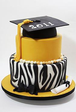Zebra Stripe Graduation Cake