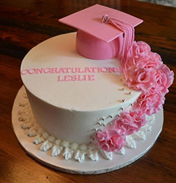 Pretty in Pink Graduation Cake