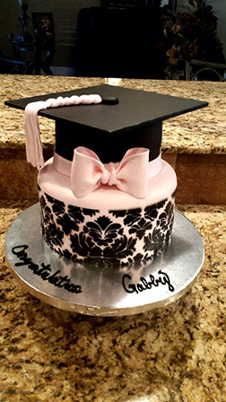 Pink Bow Graduation Hat Cake
